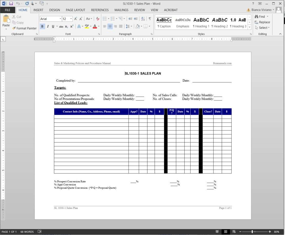 sales plan template sl1030 1