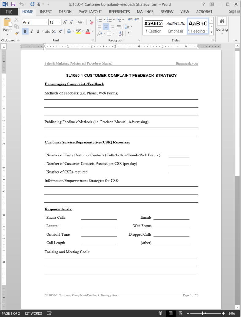 Customer Complaint-Feedback Strategy Worksheet Template