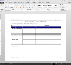 TM1020-2 Inventory Management Report Template