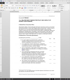 TM1030-1 Related-Party Transaction Conflict-of-Interest Questionnaire Template