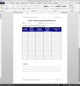 TM1040-1 Foreign Exchange Management Plan Template