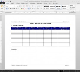 TM1060-1 Merchant Account Report Template