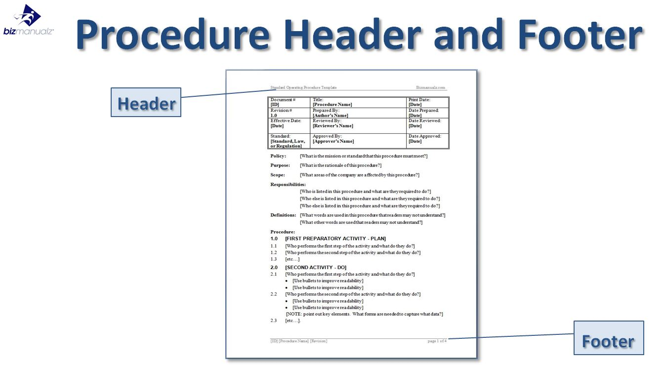 Procedure Header Footer In Word
