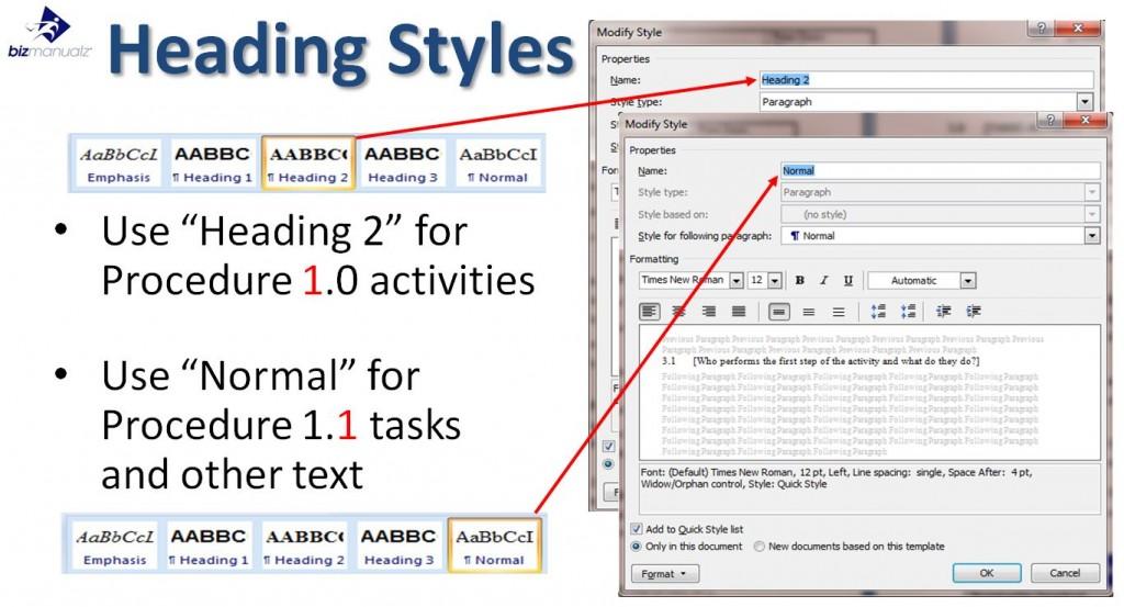 MS Word Procedure Heading Styles