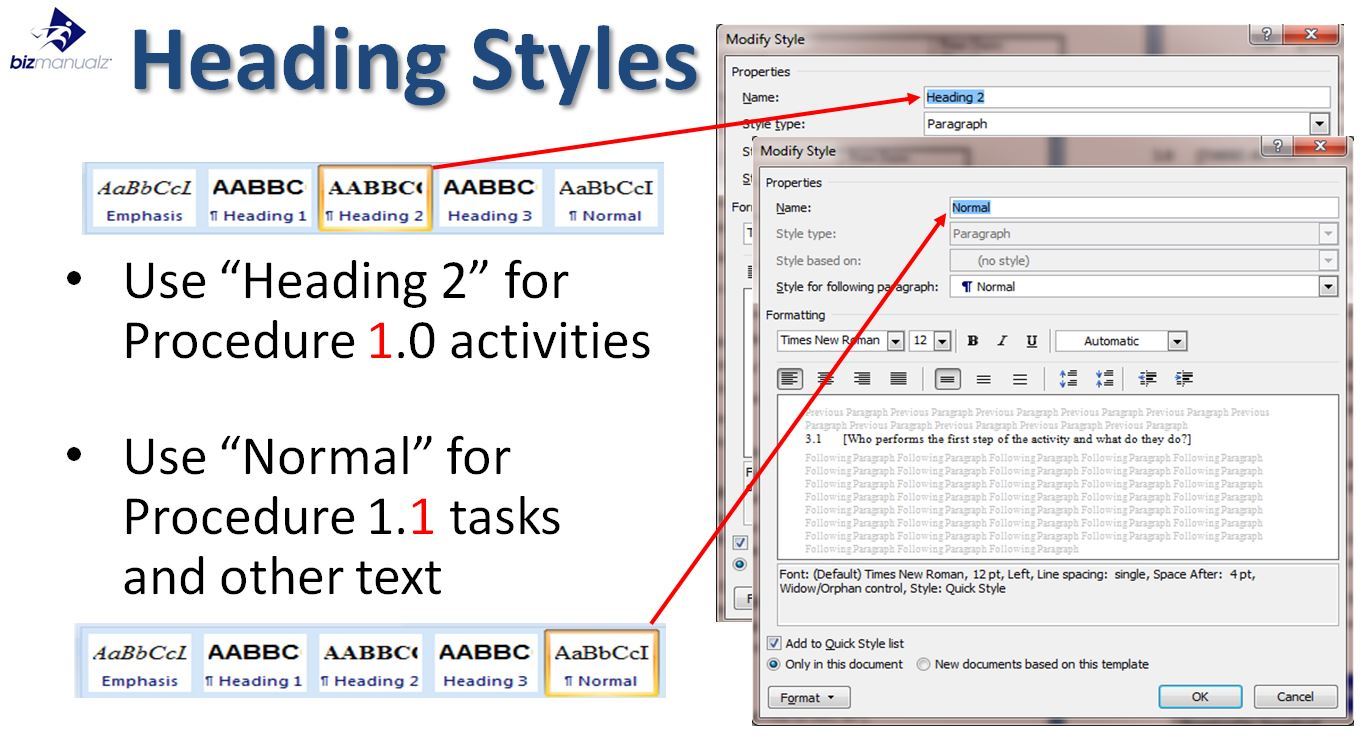 MS Word Procedure Heading Styles