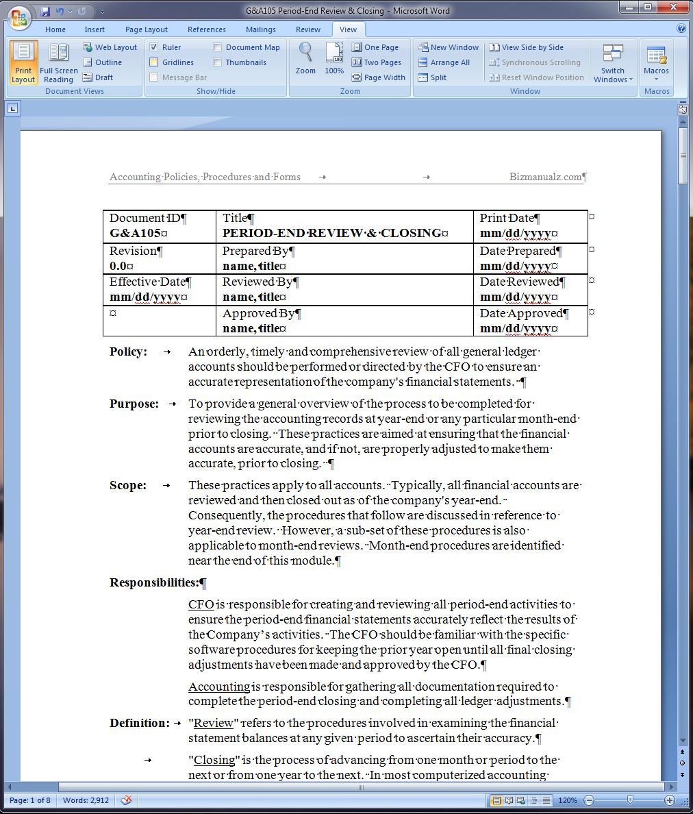 Accounting Policy and Procedure Word Template