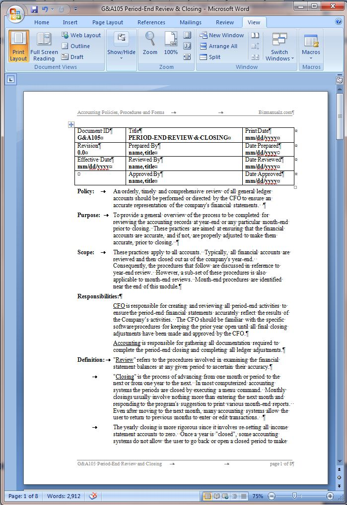 policy and procedure document template - period end review and closing procedure word template