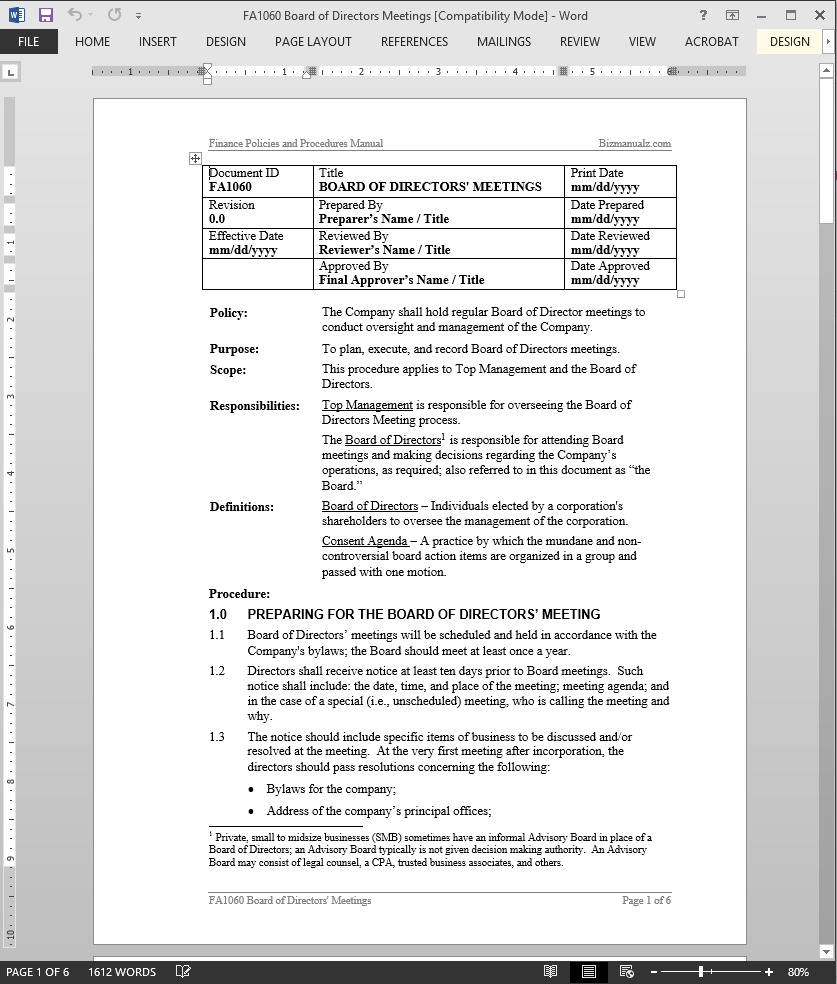 Board of directors meetings procedure for Board policy manual template