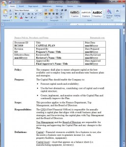 Capital planning policy template for Policy and procedure template for medical office