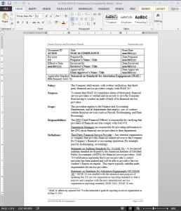 SSAE 16 Compliance Procedure
