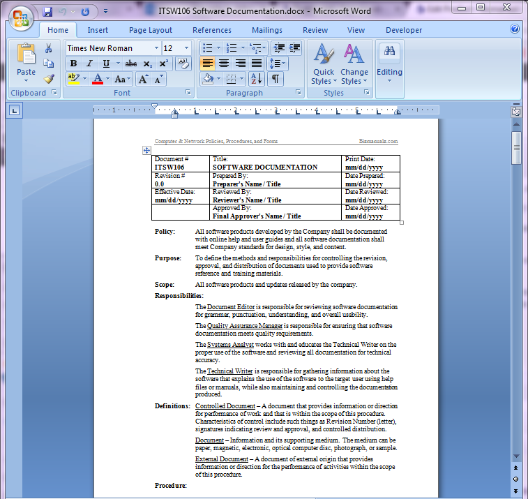 policy and procedure manual software