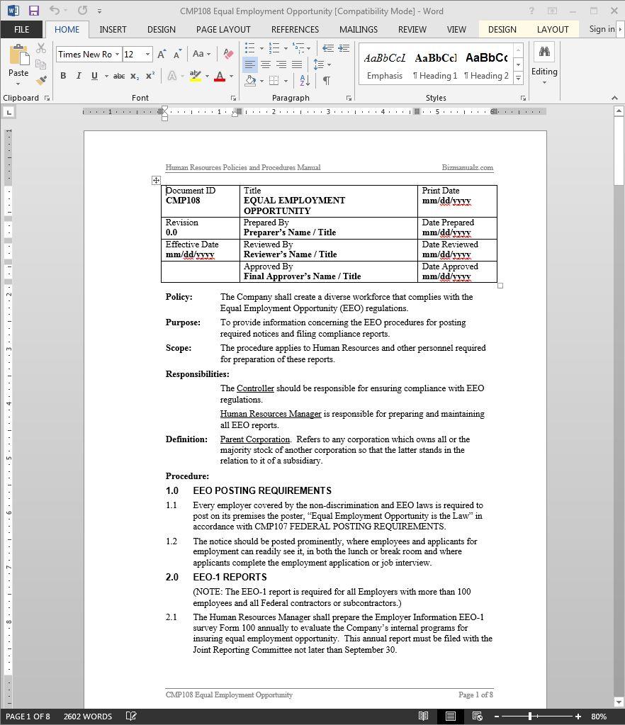 hr policies and procedures manual pdf uae
