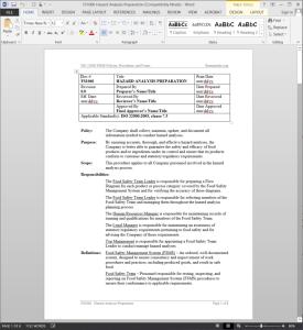 FSMS Hazard Analysis Preparation Procedure