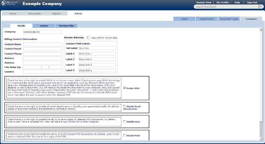 OnPolicy Software Settings