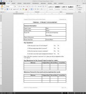 ITSW102-2 IT Project Status Report Template