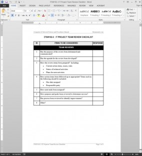 ITSW102-3 IT Project Team Review Checklist Template
