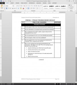 ITSW102-4 IT Project Progress Review Checklist Template