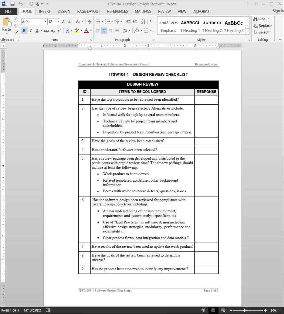 Software Design Review Checklist Template