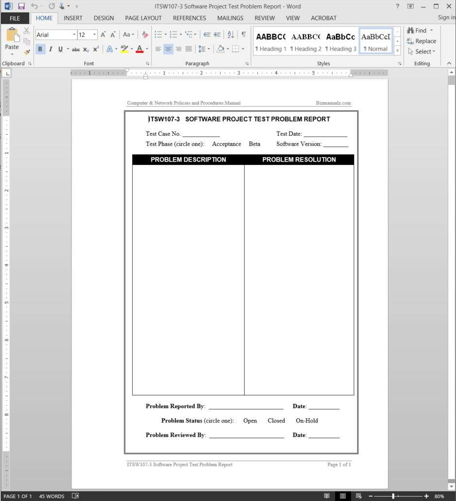 Project Test Problem Report Template