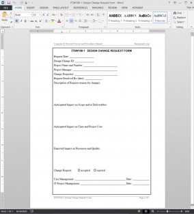 ITSW108-1 Design Change Request Template