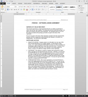 ITSW109-1 Software License Agreement Template