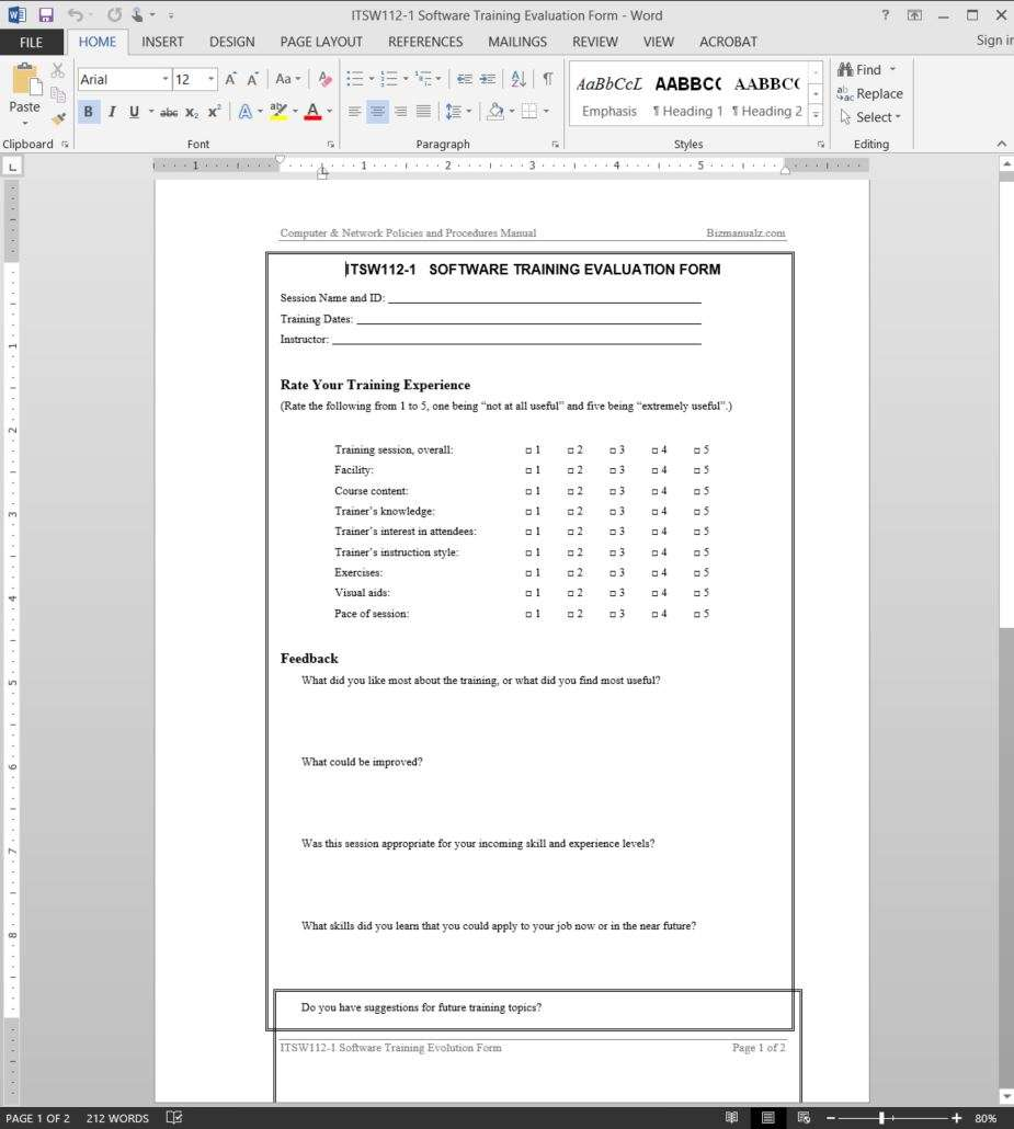 Sample Software Evaluation Forms