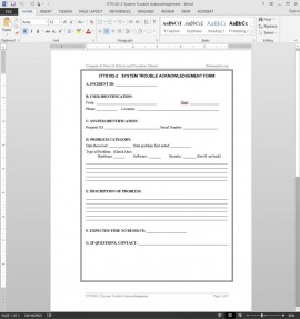 ITTS102-2 System Trouble Acknowledgement Template
