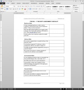 ITSD102-1 IT Security Assessment Checklist Template