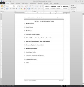 ITSD107-3 IT Security Audit Plan Template
