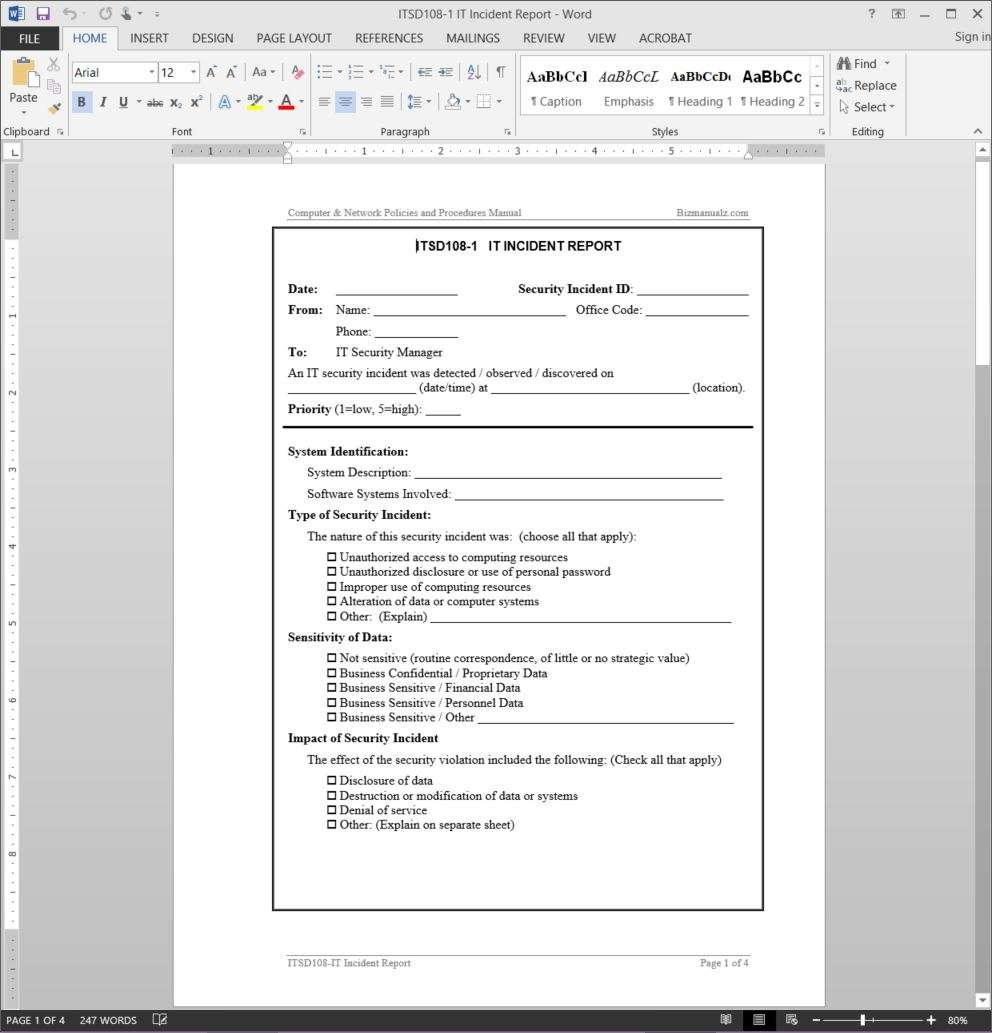 It incident report template for Information technology procedure template