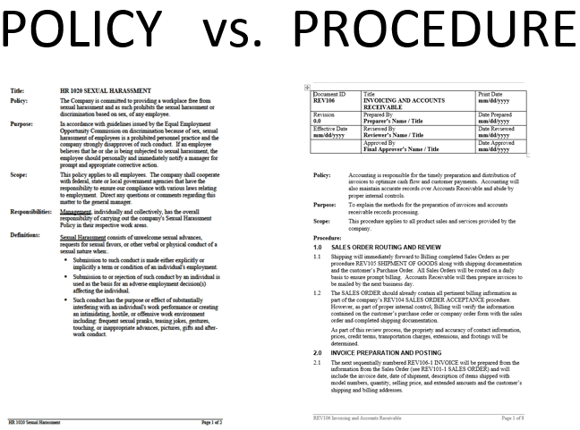 Policy Procedure Differences