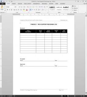 ITAM102-3 Tech Support Receiving Log Template