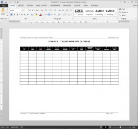 ITAM102-5 IT Asset Inventory Database Log Template