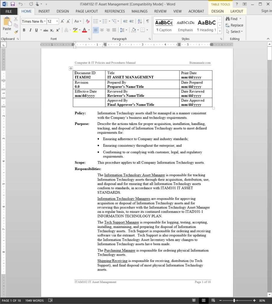 information technology policies and procedures templates - information technology asset management policy bizmanualz