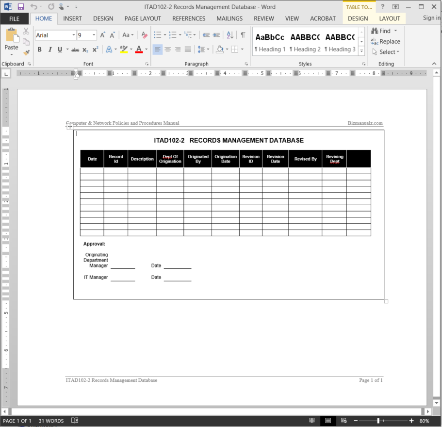 It Records Management Log Template