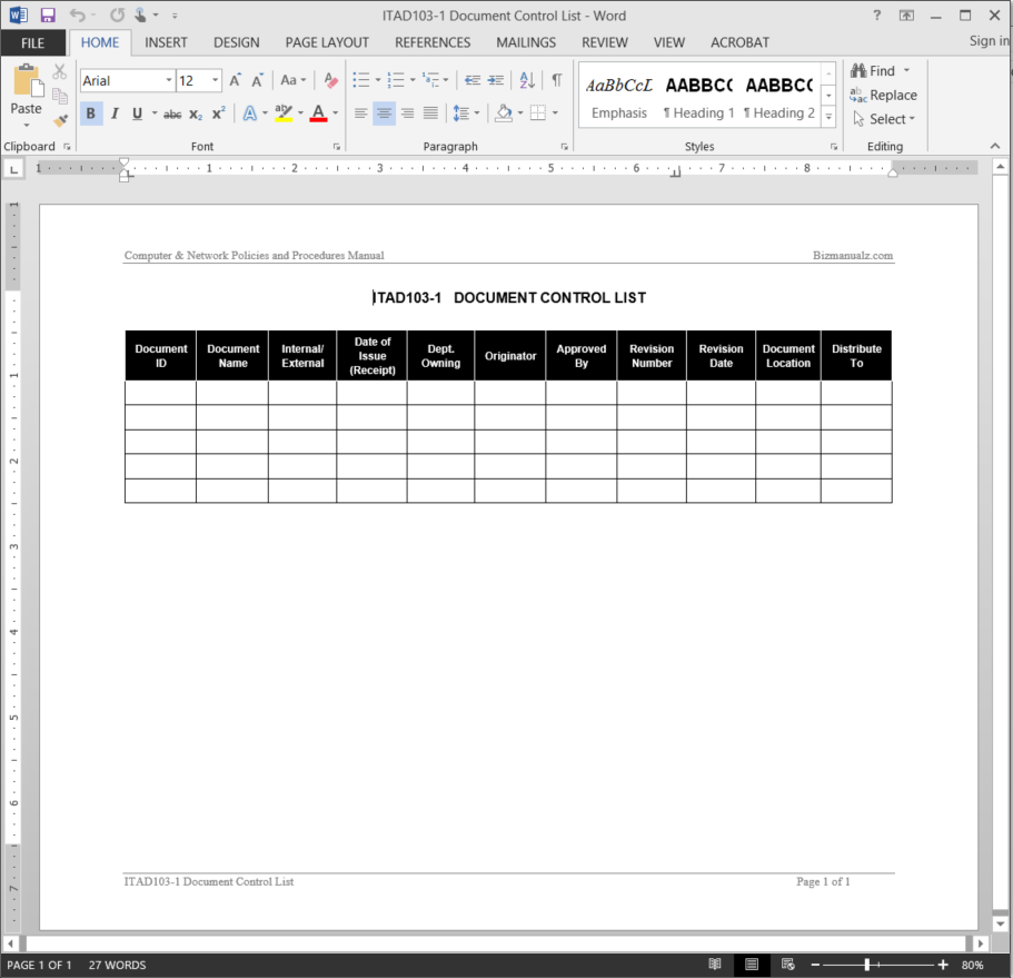 IT Document Control List Template