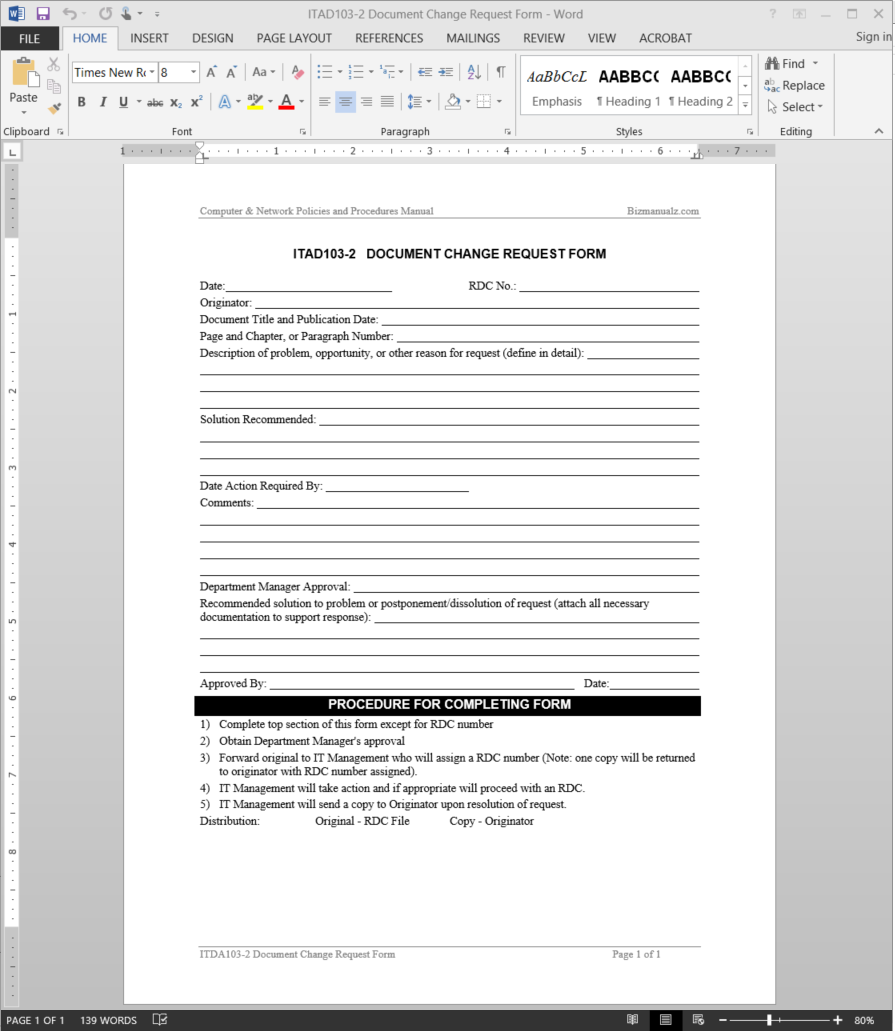 IT Document Change Request Template  Change Management Form Template