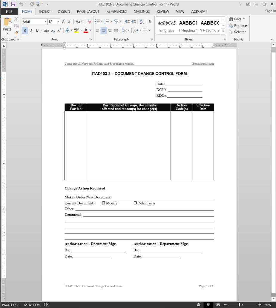 It Document Change Control Request Template – Change Request Template