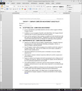 ITAD107-1 Computer-Internet Usage Policy Acknowledgement Template