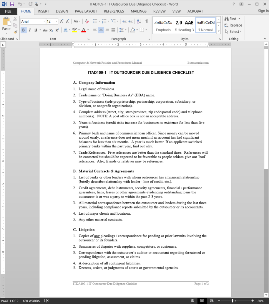 IT Outsource Due Diligence Checklist Template
