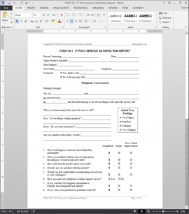 ITAD110-1 IT Post-Service Satisfaction Report Template