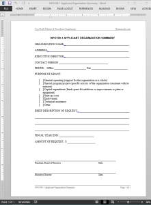 Applicant Organization Summary Template