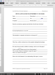 Appointment to the Board Application Template