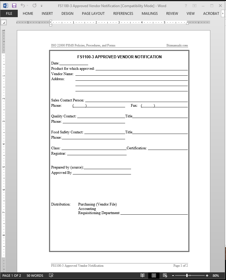 fsms approved vendor notification template