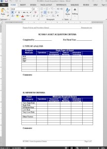 Asset Acquistion Criteria Guide Template