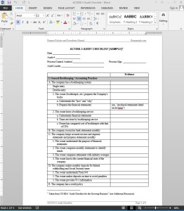 Audit Checklist (Sample)