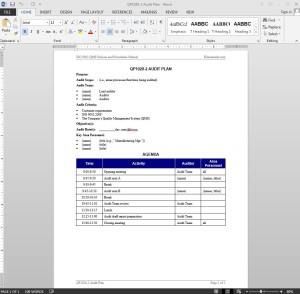 Audit Plan ISO Template