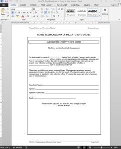 Proxy to Vote Shares Authorization Template