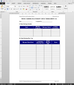 Banking Relationship Contact Management Log Template