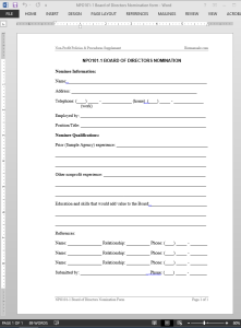Board of Directors Nomination Template